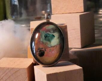 Gem pendant painting unique silver necklace pink blue clear/Pendant art painting unique piece light blue pink silver