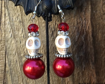 Red Pearl Skull Earrings - Gothic - Wedding - Bridesmaid - Prom - Skull Earrings