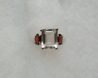 Womans 2.5 carat green amethyst with 0.8 carats genuine garnet accents ring size 6 set in sterling silver