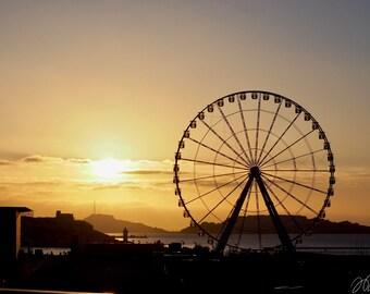 POSTER of Marseille wheel at sunset Sun