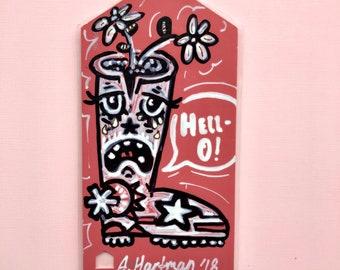 CRYBABY BOOT handpainted bookmark OOAK