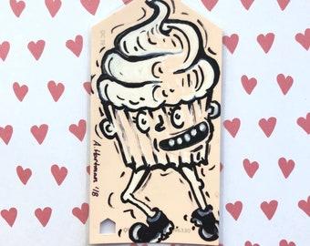 CUPCAKE KID handpainted bookmark OOAK