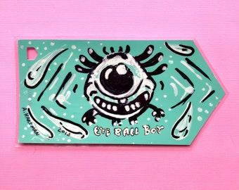 EYEBALL BOY handpainted bookmark OOAK