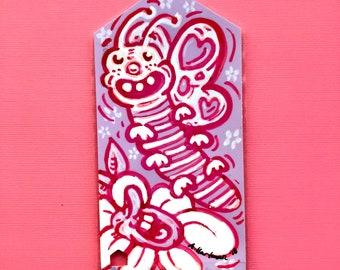 BUTTERFLOWER ROMANCE handpainted bookmark OOAK