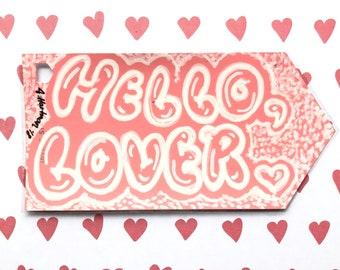 HELLO, LOVER handpainted bookmark OOAK