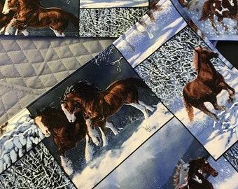 Set of 4 Winter Horse Place-mats