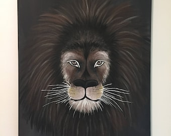 Original Lion Painting on Canvas