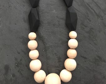 Black Silicone and Wood Teether Necklace/Sensory Toy