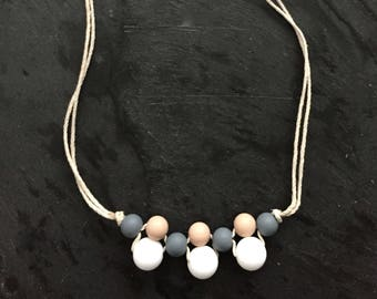 Grey, White and Oatmeal Silicone Teether Necklace/Sensory Jewelry