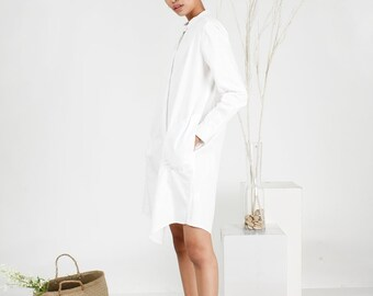 a66be78a83e Mandarin Collar Shirt Dress  Oversize Baggy Aesthetic Clothing  Minimalist  Plus Size