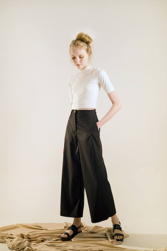 High black wide flare leg high pant waisted cullote Waist pants pant rqgSEwr