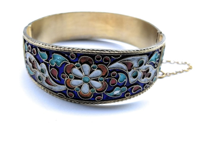 Brass Cloisonne Enamel Hinged Bangle Bracelet