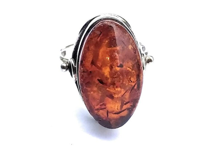 Oval Amber Gold Plated Ring