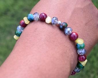 Multi-Painted Rondelle・Shell Purple・Green dyed Quartzite Beaded Bracelet・Gifts・Womens Bracelet・Girls Bracelet・Jewelry・Bead Bracelet