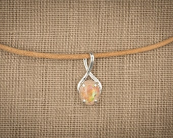 2.5 Ct Cantera Matrix Precious Opal in Sterling Silver Setting. Full Spectrum Play of Color