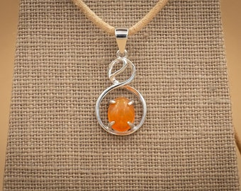 1.2 Ct Precious Fire Opal in Sterling Silver Setting. Orange Flame with Full Spectrum Play of Color
