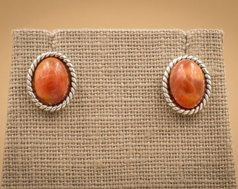Sterling Silver Oval Rope and Fire Opal Earrings.