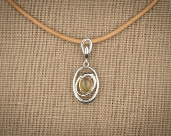 1.15 Ct Precious Opal in Sterling Silver Setting. Crystal Champagne with Full Spectrum Play of Color