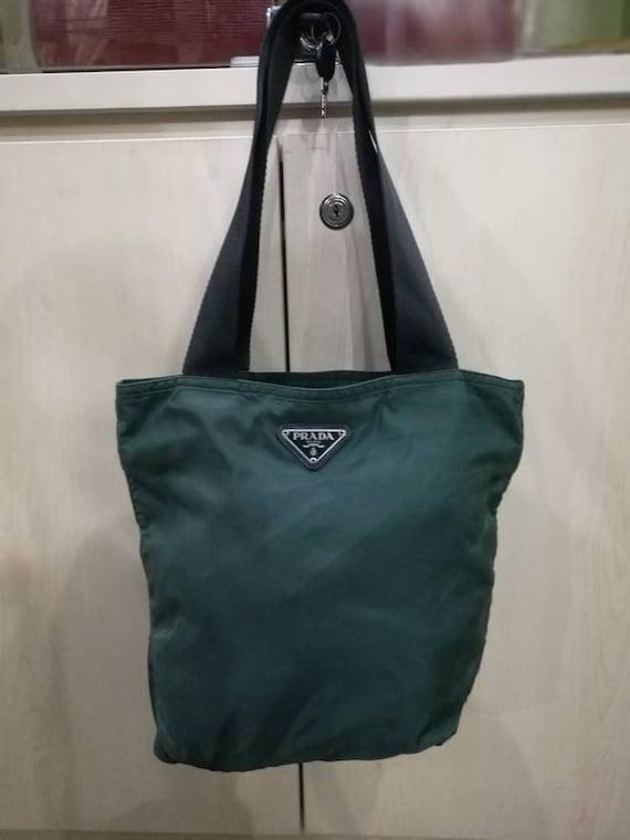 8d56fb2a3323 ... shop vintage authentic prada green nylon prada tote bag etsy 8ef18 b8587