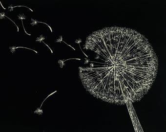Wish Dandelion Scratchboard Illustration