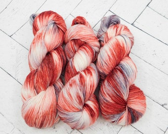 Red Poppies- Hand-Dyed Superwash Sock Yarn