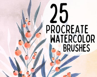 DIGITAL WATERCOLOR BRUSHES    25 set    For Procreate