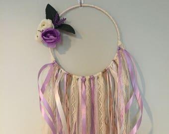 Purple and White Flower, Lace, Burlap, Hoop Wreath/Dreamcatcher