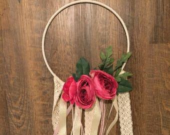 Pink and Green Flower, Lace, Burlap, Hoop Wreath/Dreamcatcher