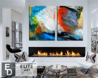 Set of 2 colorful art, Abcstract Art, Painting wall Art, Textured, Painting Abstract, Large abstract, Abstract Painting, Large painting