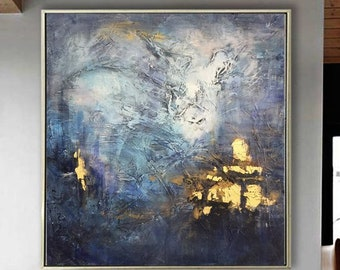 Extra Large Abstract Painting Acrylic Blue Paintings On Canvas Oil Painting Gray Fine Art Gold Painting Textured Artwork for Living Room