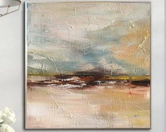 Large Canvas Art Abstract Paintings On Canvas Large Acrylic Painting Beige Palette Knife Painting Canvas Wall Art Painting For Living Room