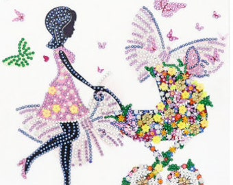 Mother with baby carriage Crystal 5D Diamond Painting Embroidery Kit 30x30 Full Cross Stitch