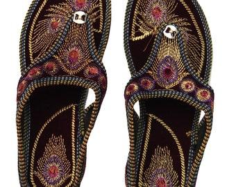 944ac3512 Rajasthani Embroidered Heel Wedges Ethnic Fashion Woman Sandal