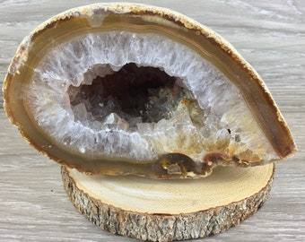 Stunning and large amethyst half geode rough unpolished from Uruguay
