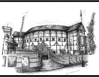The Globe Theatre Sketch Print