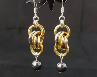 Chainmaille Earrings in Gold and Gunmetal Grey with a Haematite Bead Drop