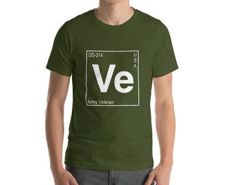 Veteran's Periodic Table short-sleeve t-shirt/ Army, Navy, Marines, Air Force, Coast Guard/ Reserves/ Military Retirement gift