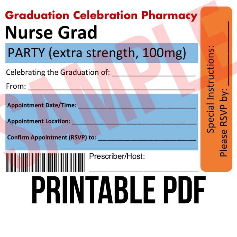 graphic relating to Nurse Graduation Invitations Printable called Nurse Commencement PRINTABLE Invites/ PDF/ Tablet bottles / Registered Nurse Commencement Present/ Commencement Printable/ Celebration decorations
