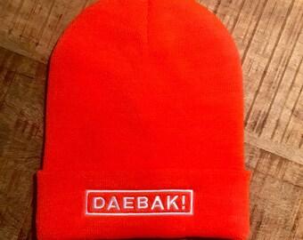 "Orange Beanie ""DAEBAK!"" by K-BOMB"