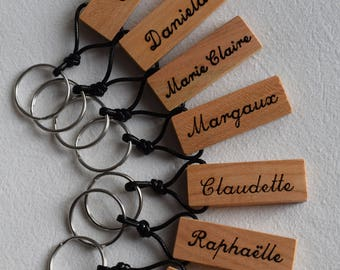Natural cherry wood engraved keychain