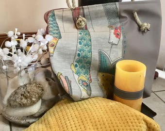 Faux leather grey Taupe and linen fish tote bag