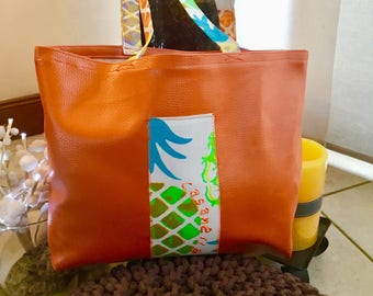 Bag faux leather and waxed pineapple