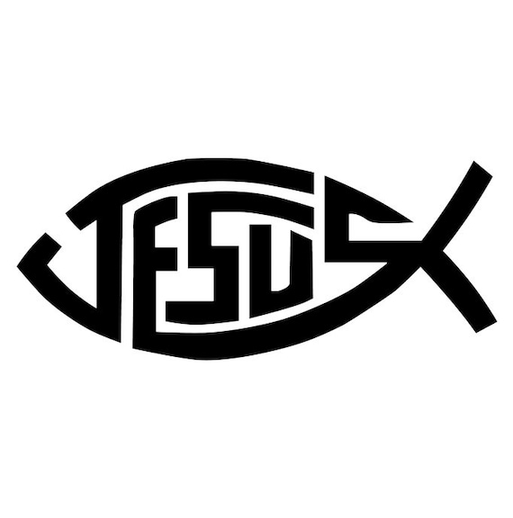 Jesus Fish Decal Jesus Fish Bumper Sticker Christian Fish Etsy