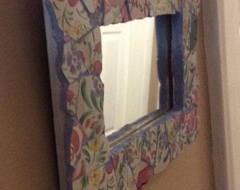 Floral Framed Mosaic Mirror