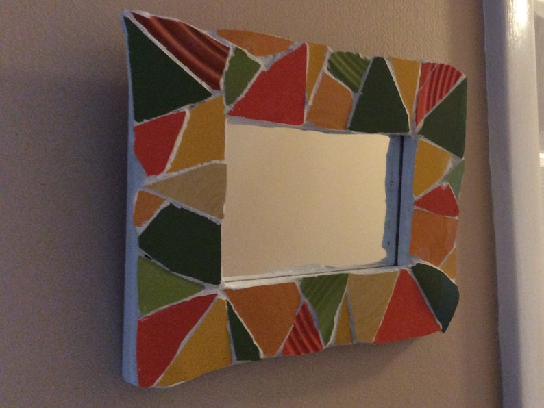 Colorful Mosaic Framed Mirror Etsy