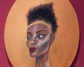 The Pursuit of Femininity - Acrylic Mixed Media Portrait, Portrait Painting, Oval Unique Original Modern Art Decor