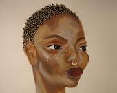 The Pursuit of Femininity - Acrylic Mixed Media Portrait, Portrait Painting, Original Modern Art Decor