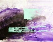The Path - Abstract Art Purple Turquoise Energy Therapy Acrylic Painting on Canvas by Mona Lazar