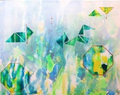 Luminosity - Abstract Blue Green Yellow Gold Acrylic Unique Original Painting on Canvas Ready to Hang by Mona Lazar