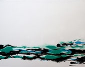 River - Abstract White Green Blue Black Acrylic Unique Original Painting on Canvas Ready to Hang by Mona Lazar